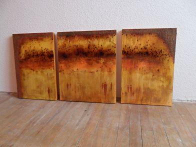 Peoples walk Triptichon acrylic & pigment mixed media on canvas 60x40 60x50 60x40