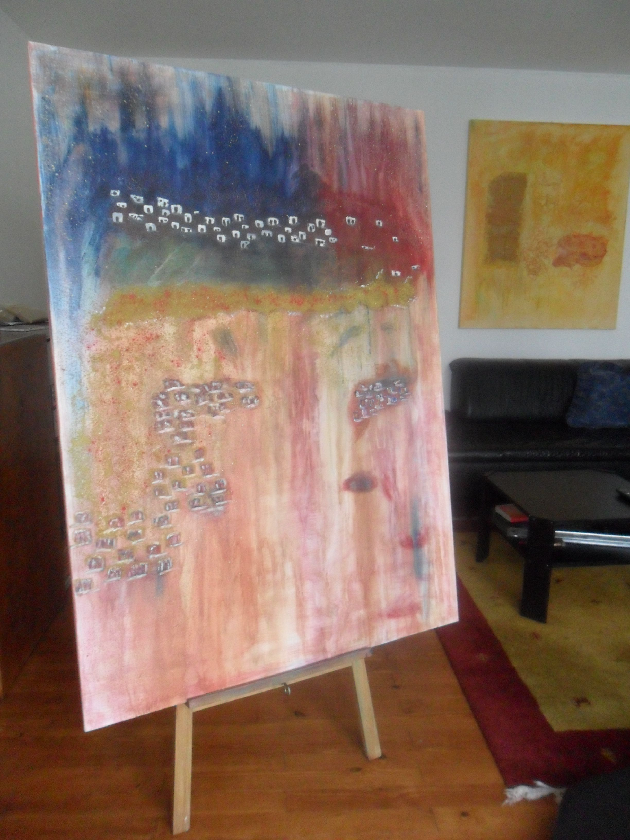 Village Pigmente on Canvas 100 x 140 cm